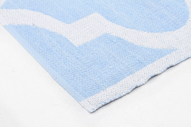Coastal Indoor Out door Rug Trellis Sky Blue White