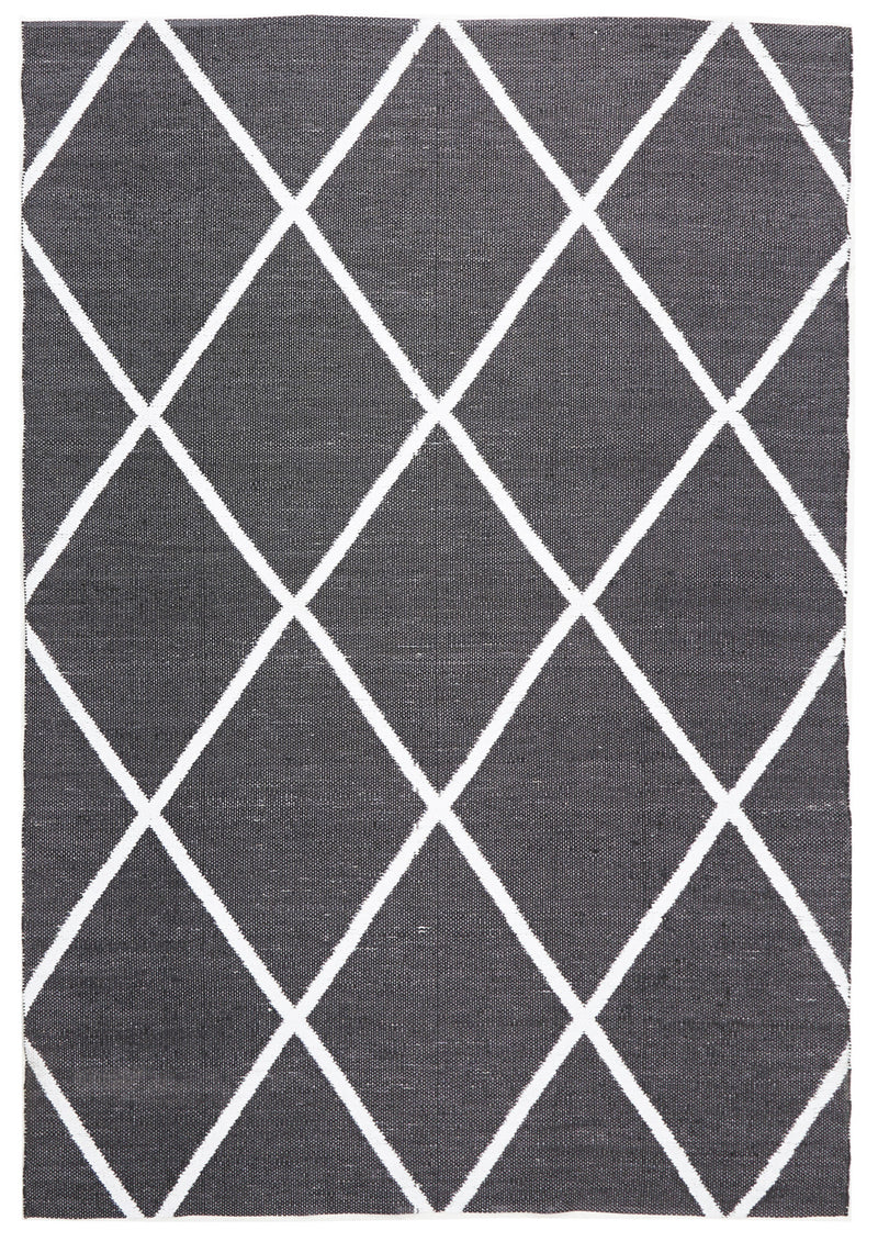 Coastal Indoor Out door Rug Diamond Black White - MaddieBelle