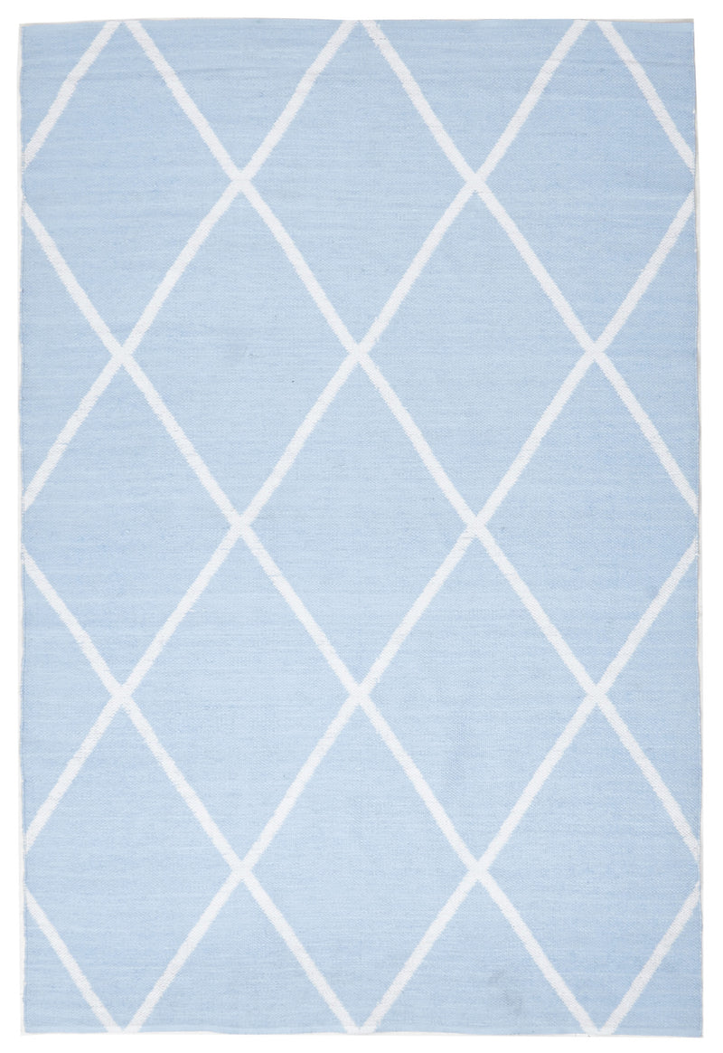 Coastal Indoor Out door Rug Diamond Sky Blue White - MaddieBelle