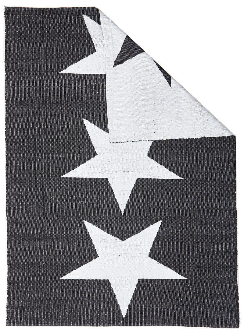Coastal Indoor/Outdoor Black and White Star Rug - MaddieBelle
