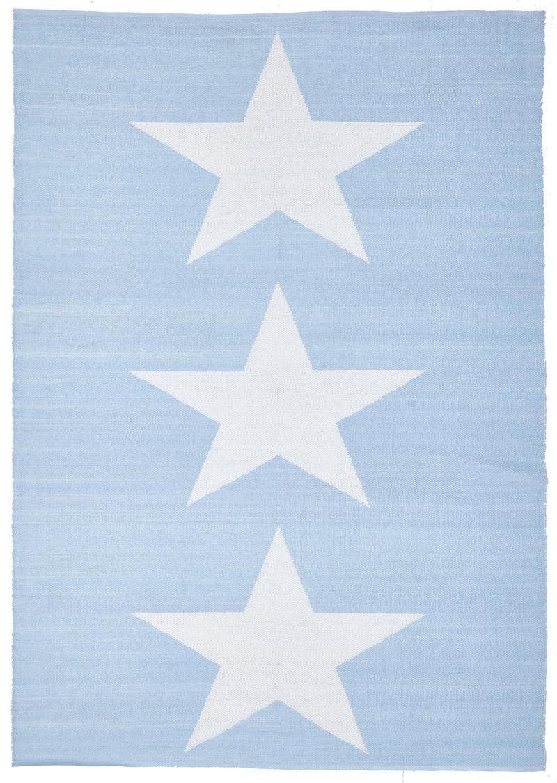 Coastal Indoor Outdoor Sky Blue Star Rug - MaddieBelle