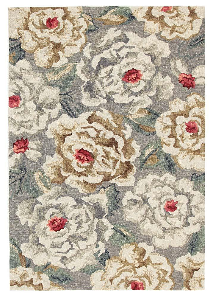 Paeonia Indoor/Outdoor Grey Rug - MaddieBelle