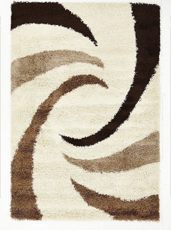 Soft Dense Beige and Brown Cream Swirl Design Rug