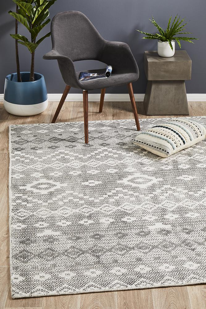 Castle Bella Tribal Woven Rug Charcoal Grey - MaddieBelle