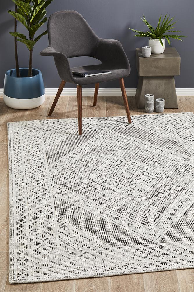Castle Millie Transitional Black White Grey Rug - MaddieBelle