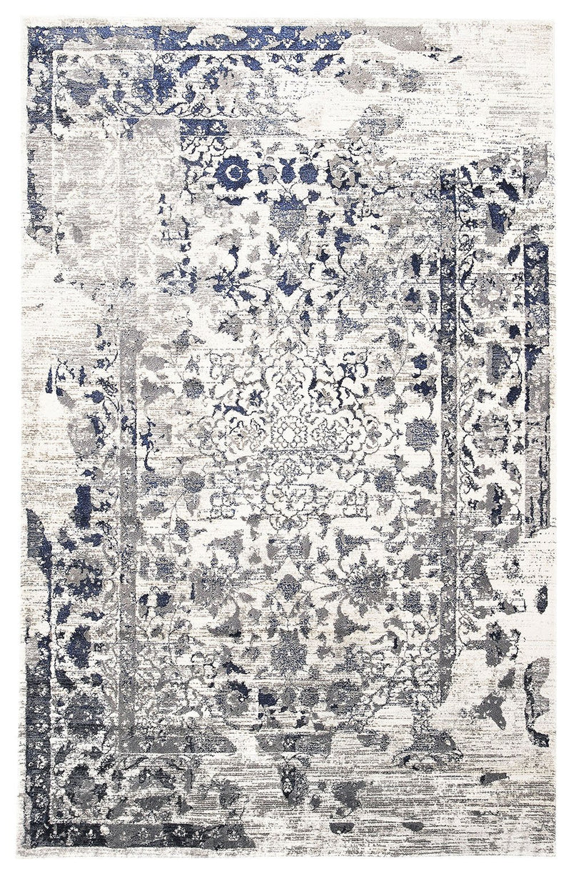 Tabriz Transitional Modern White Navy and Grey Rug - MaddieBelle