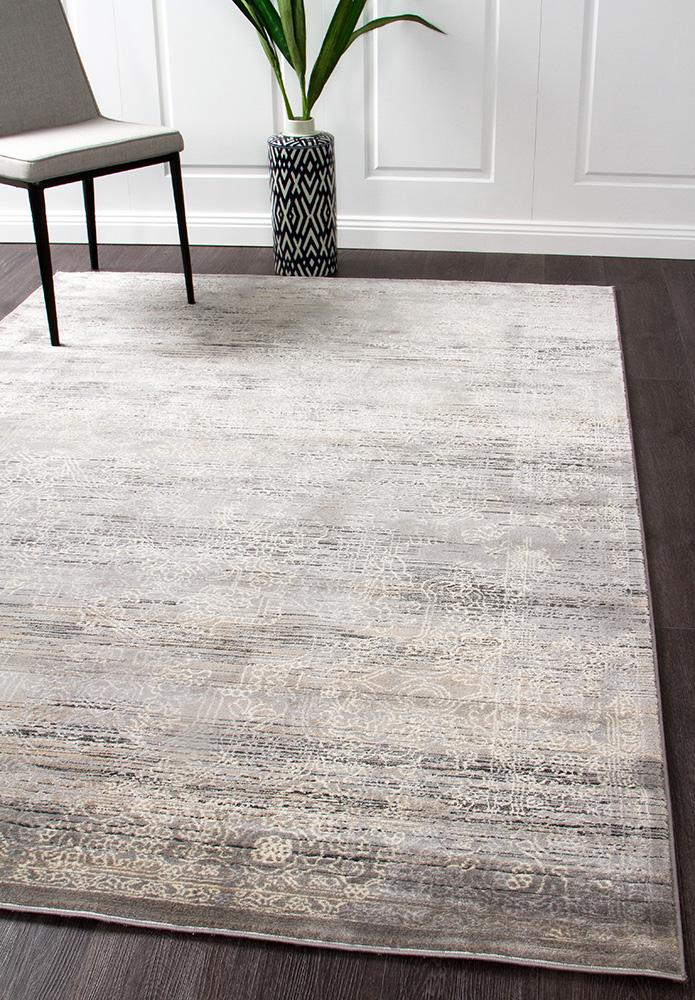 Nisa Transitional Grey Charcoal Ivory Rug - MaddieBelle