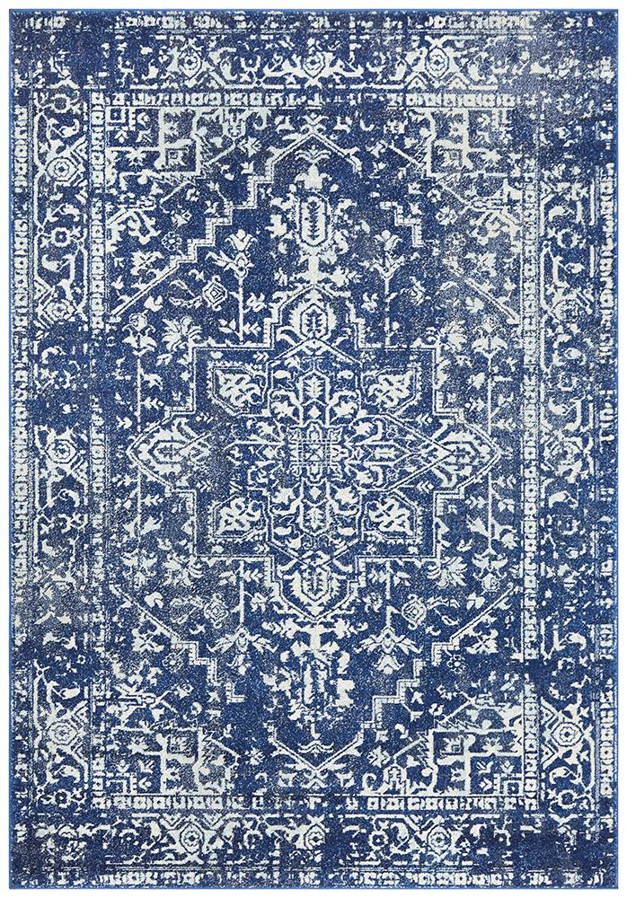 Evoke Contrast Navy Transitional Rug