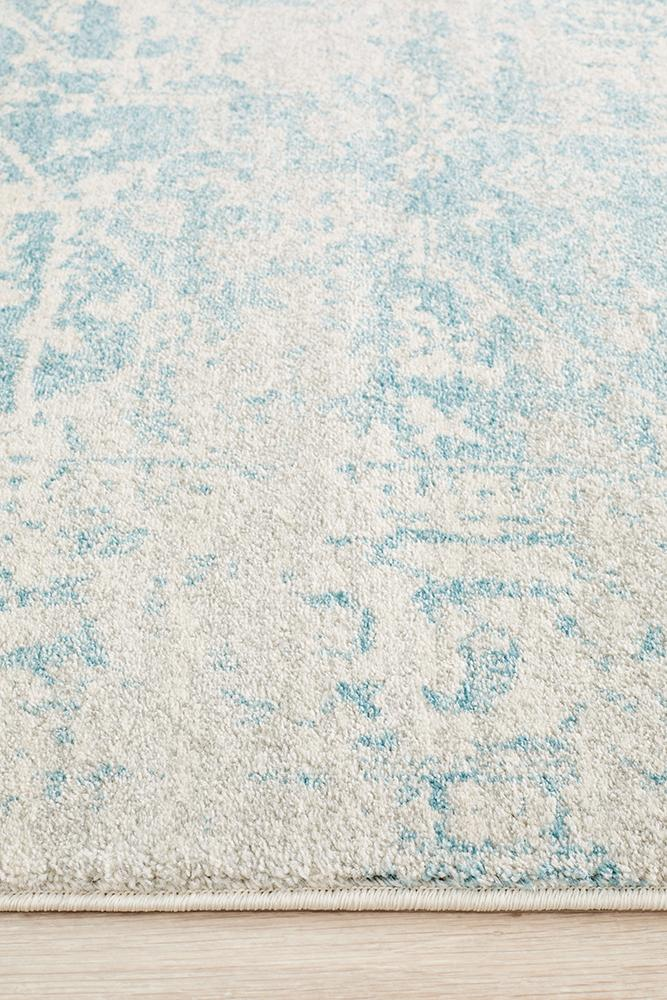 Evoke Glacier White Blue Transitional Rug