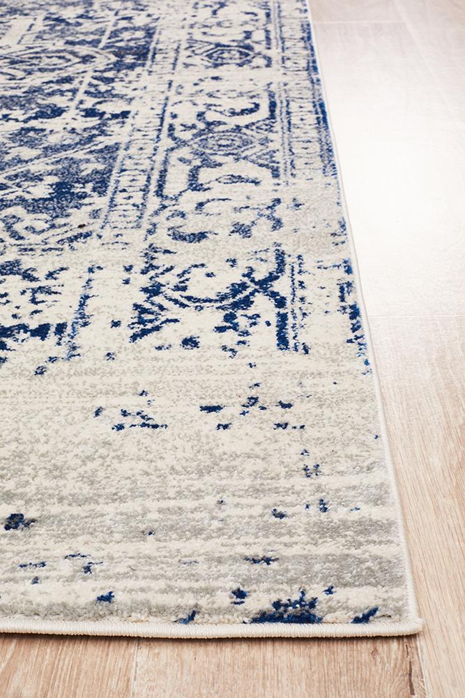 Evoke Horizon White Navy Transitional Rug
