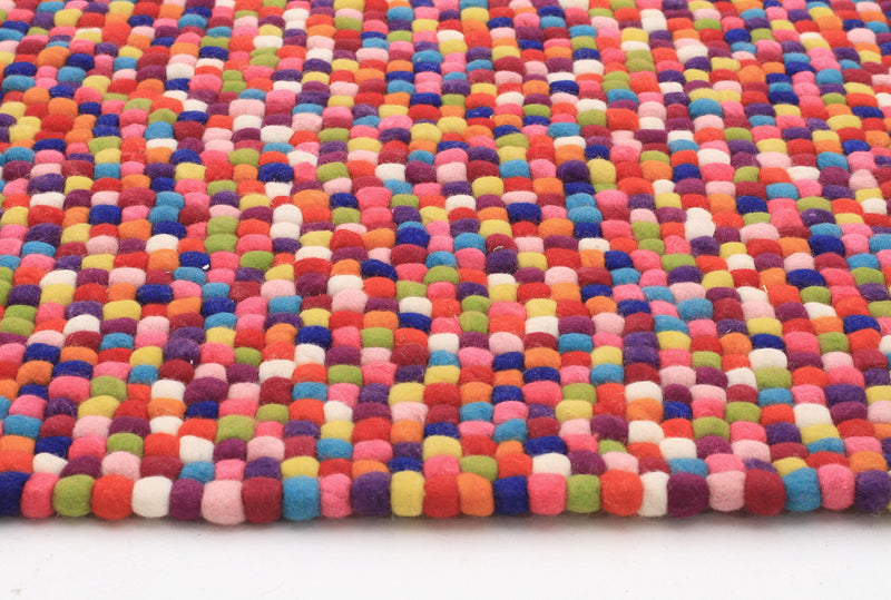 Felted Wool Unique Textured Ball Design Multi Rug - MaddieBelle