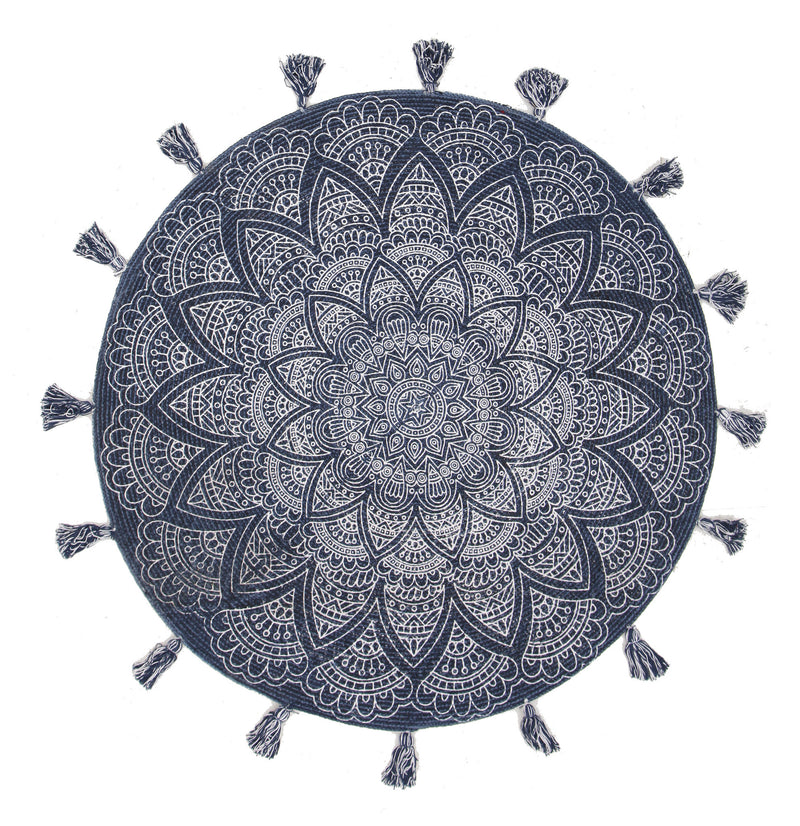 Blueberry Flatweave Cotton Round Rug - MaddieBelle