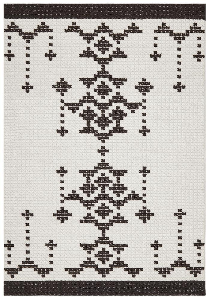 Rhea Cross Stitch Rug Black White - MaddieBelle