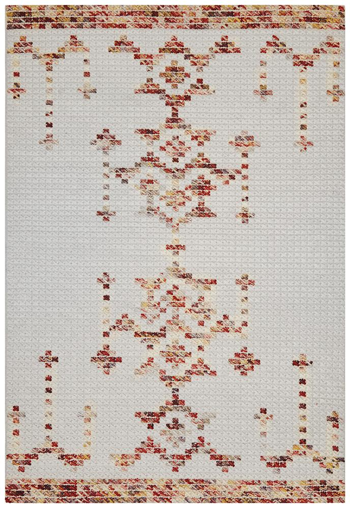 Rhea Cross Stitch Rug Rust Burgandy - MaddieBelle