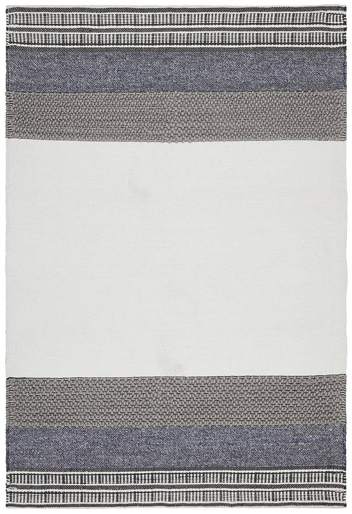 Esha Textured Woven Rug White Denim - MaddieBelle
