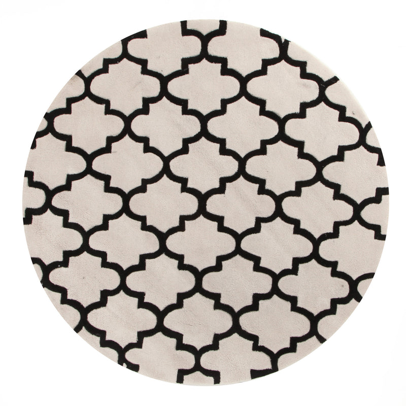 Lattice Off White And Black Rug - MaddieBelle