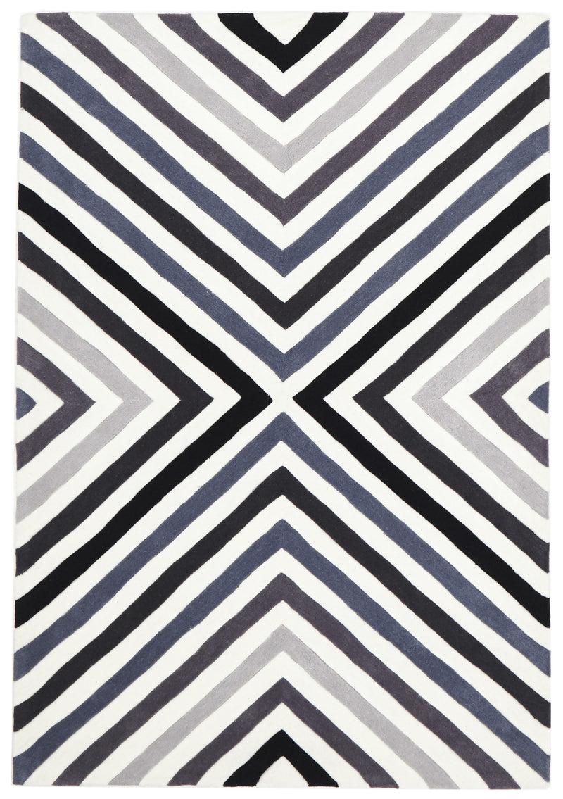 Cross Roads Design Rug Charcoal Grey - MaddieBelle