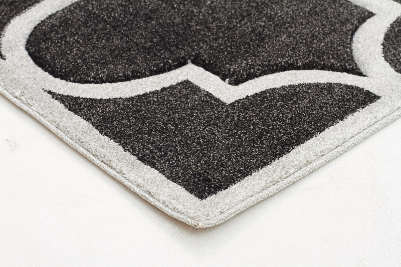 Large Modern Trellis Rug Charcoal - MaddieBelle