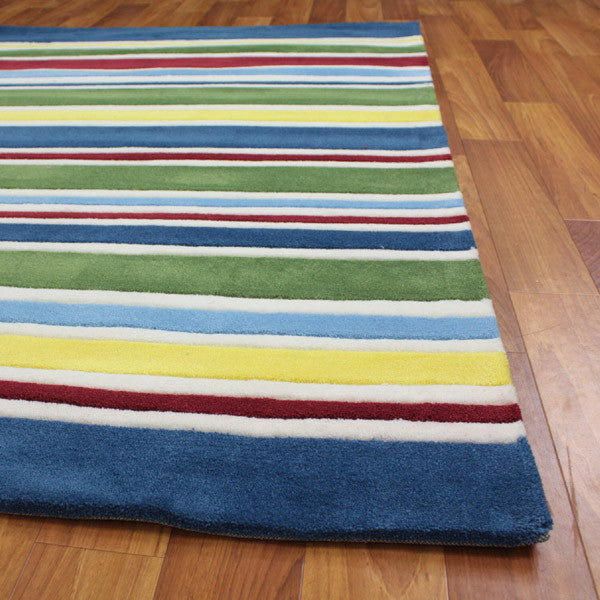 Primary Coloured Stripes Children's Rug - MaddieBelle