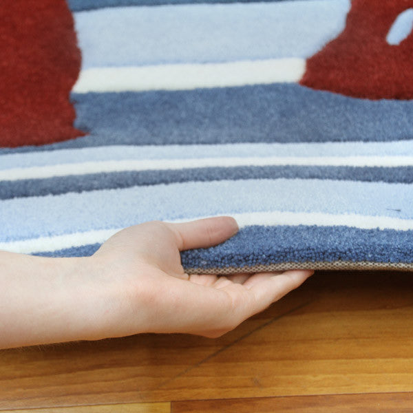 Funky Striped Rug Blue and Burgundy