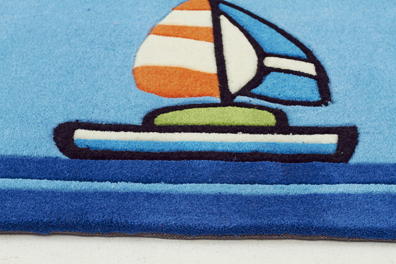 Boats and Ships Rug Blue - MaddieBelle