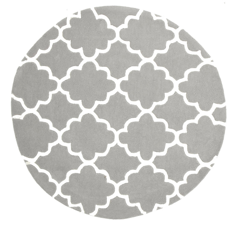 KIDS TRELLIS DESIGN IN GREY  round rug