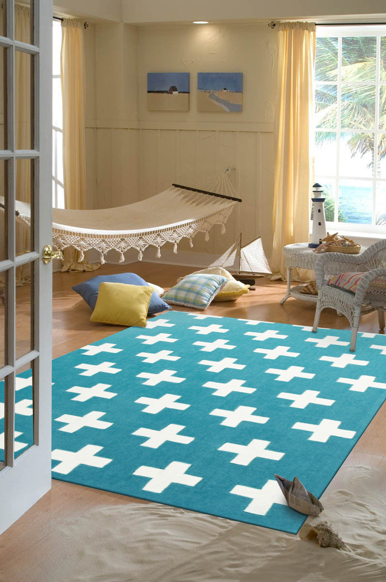 NORDIC CROSSES BLUE KIDS RUG