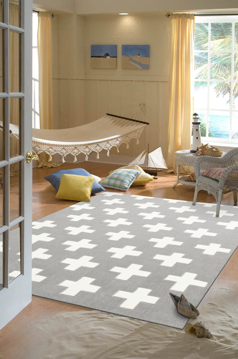 NORDIC CROSSES GREY KIDS RUG