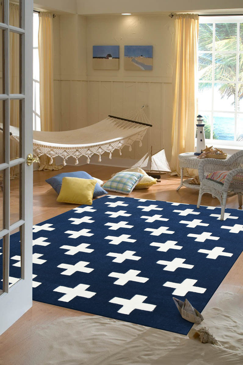NORDIC CROSSES NAVY KIDS RUG