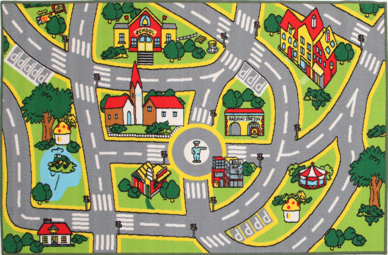 Non Slip Road Map City Rug