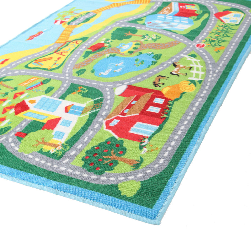 Non Slip Road Map Beach Rug Blue - MaddieBelle