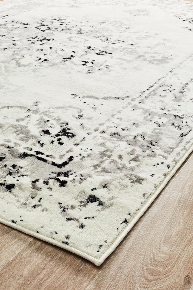Alexa Transitional Rug White Grey Black - MaddieBelle