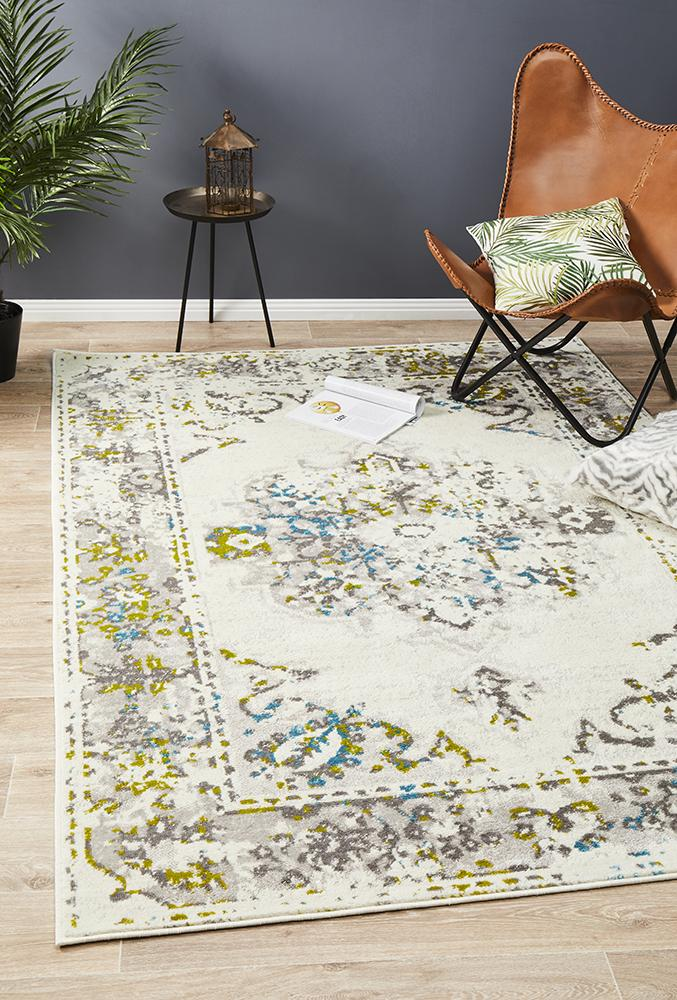 Alexa Transitional Rug White Green Blue - MaddieBelle