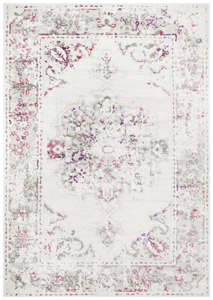 Alexa Transitional Rug White Pink Grey - MaddieBelle