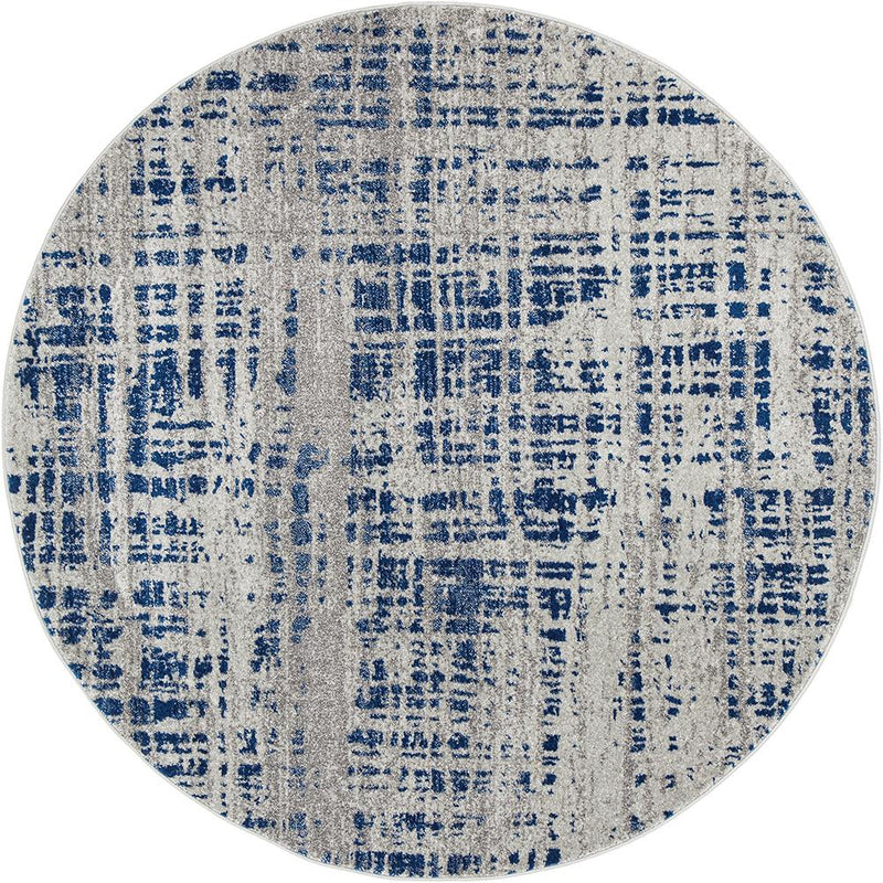 Ashley Abstract Modern Blue Grey Round Rug - MaddieBelle