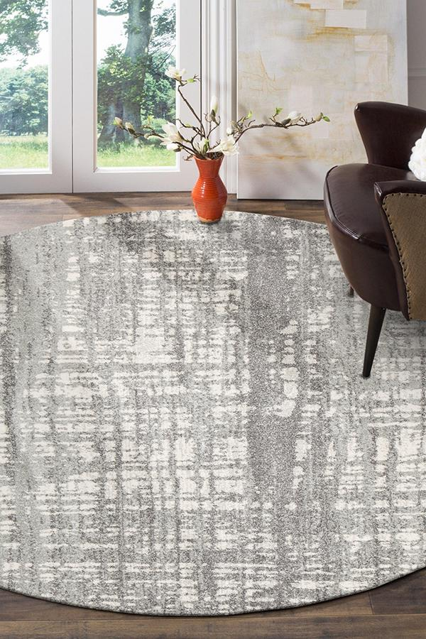 Ashley Abstract Modern Silver Grey Round Rug - MaddieBelle