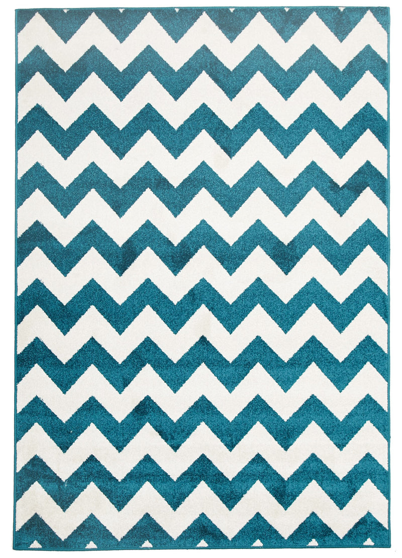 Indoor Outdoor Zig Zag Peacock Blue Rug