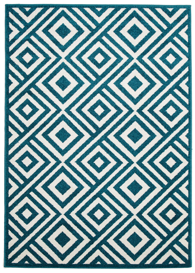 Indoor Outdoor Matrix Rug Peacock Blue - MaddieBelle