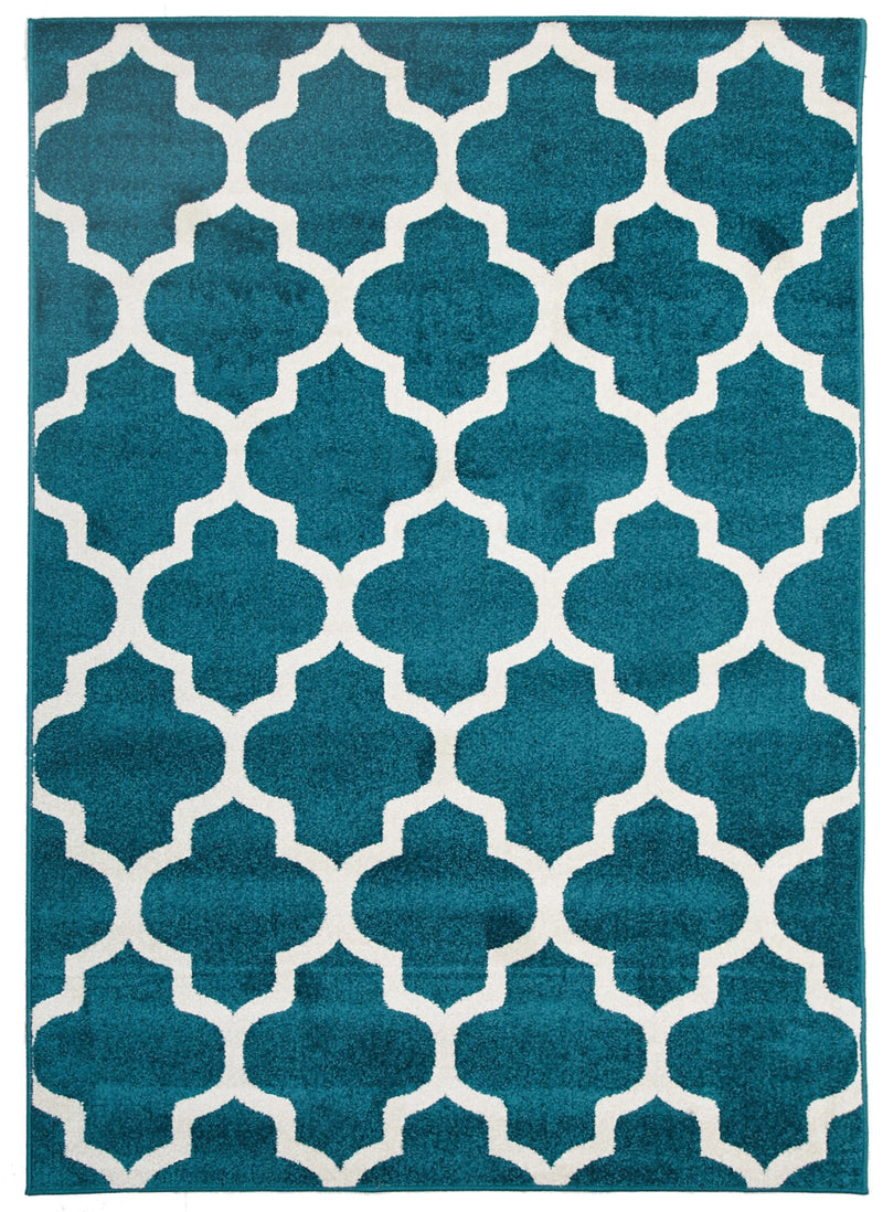 Indoor Outdoor Peacock Blue Morocco Rug