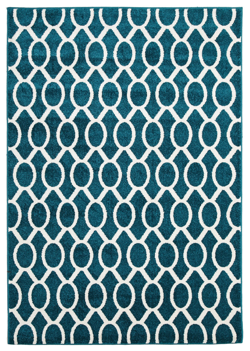 Indoor Outdoor Neo Peacock Blue Rug - MaddieBelle