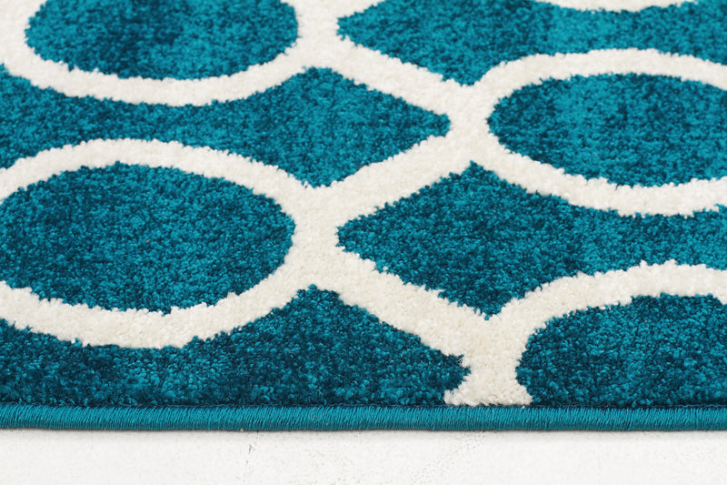 Indoor Outdoor Neo Peacock Blue Rug