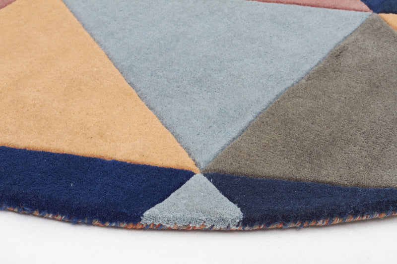 Prism Designer Wool Rug Rust Blue Navy