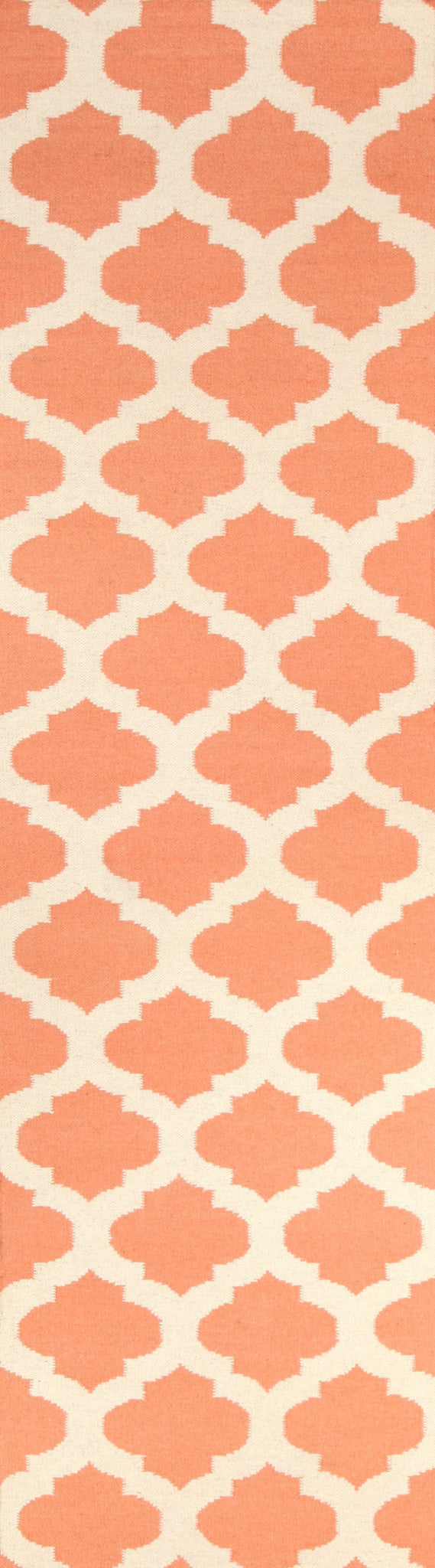 Flat Weave Quatrefoil Rug Coral Ivory - MaddieBelle