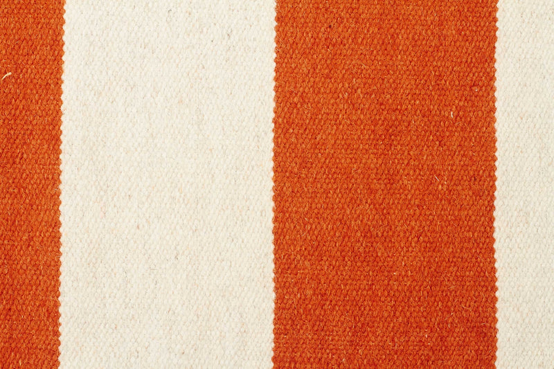 Flat Weave Stripe Orange White Rug - MaddieBelle