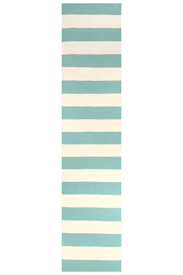 Flat Weave Stripe Light Blue White Rug - MaddieBelle