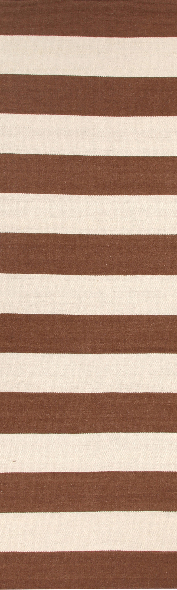 Flat Weave Stripe Light Brown White Rug - MaddieBelle