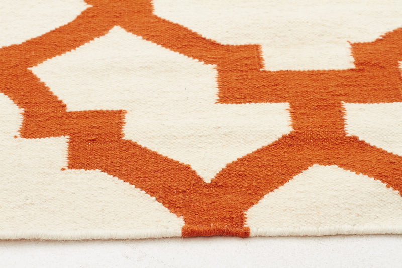 Flat Weave Trellis Design Orange White Rug - MaddieBelle