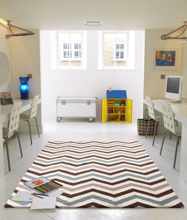 Flat Weave Chevron Design Rug Blue Brown - MaddieBelle