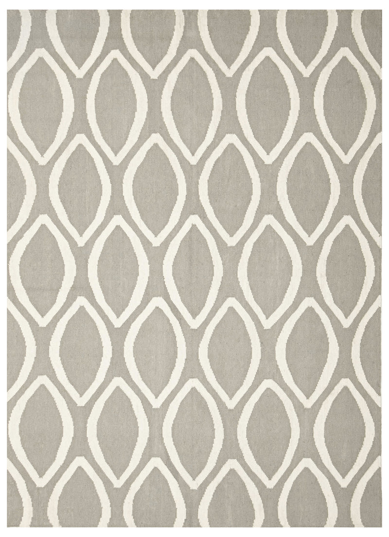 Flat Weave Oval Print Rug Grey - MaddieBelle