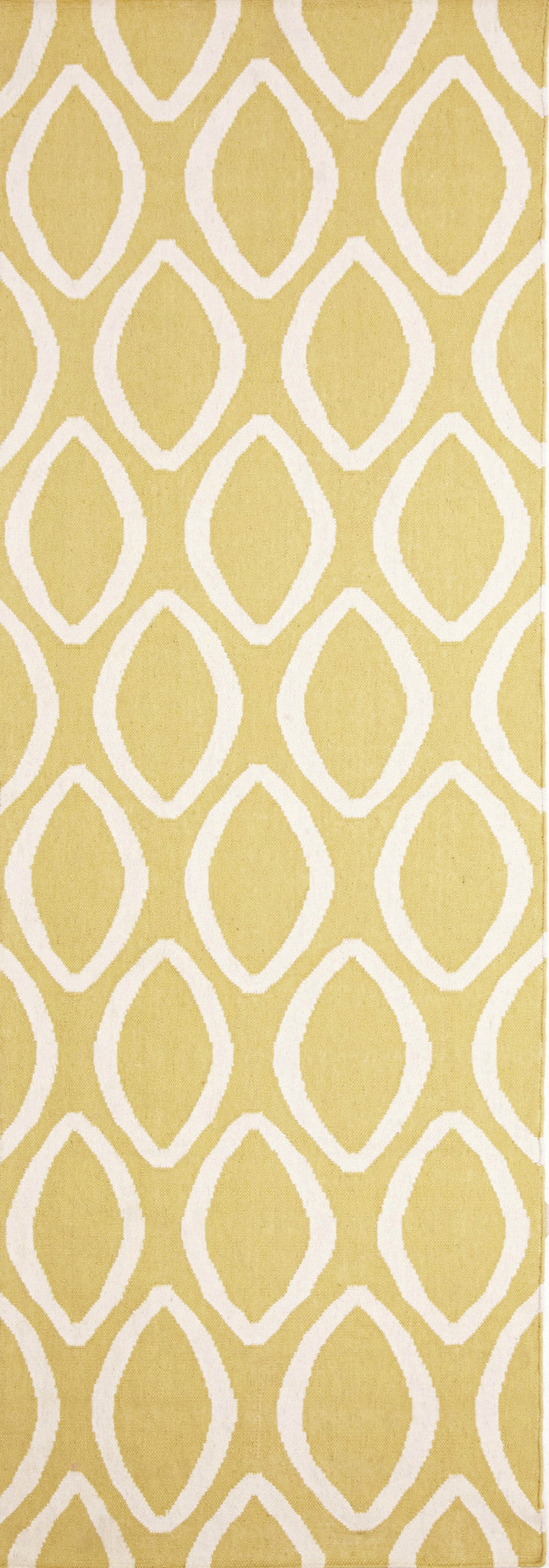 Flat Weave Oval Print Rug Yellow - MaddieBelle